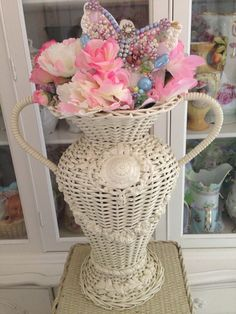 Fabulous barbola roses swags vase with florals and jeweled butterfly