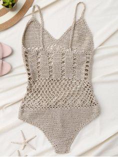 Cami plunge crochet bodysuit light khaki s mobile Beach Crochet, Crochet Diy, Crochet Woman, Crochet Bodies, Denim Vintage, Crochet One Piece, Crochet Bikini Pattern, Suit Pattern, Crochet Videos
