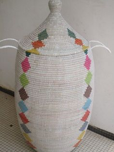 Very Tall and Elegant White Laundry Basket, Laundry Hamper Rainbow Style, Wedding Gift, More than 1m tall basket