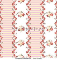 Seamless cute pattern of small flowers. Floral simple striped background for textile or book covers, manufacturing, wallpapers, print, gift wrap and scrapbooking. Trendy colors millefleurs.