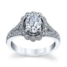 14K White Gold Diamond Engagement Ring Setting 3/8 cttw by RB Signature