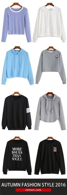 Go ahead--crop to it from $9.89. These Sweatshirts are made in soft and comfy cotton and features ear hood design, print. Take it, fall in love with this fall! Get it at romwe.com