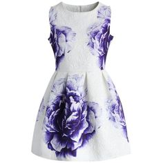 Purple Peony Jacquard Dress ❤ liked on Polyvore featuring dresses, purple dress, floral day dress, fancy dress, floral dresses and floral party dress