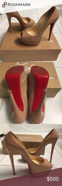 Lady peep 150 louboutins Excellent condition lady peep louboutins. Worn 2x. Added additional sol protection to bottom. Purchased at barneys New York. No dents or scratches to the leather. Christian Louboutin Shoes Heels