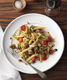 Penne With Tomatoes, Eggplant, and Mozzarella from realsimple.com #myplate #vegetables