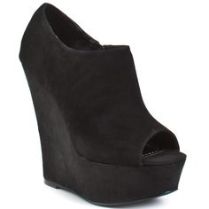 Steve Madden black suede peep toe wedges. - a little lower and they would be the perfect shoe!!!