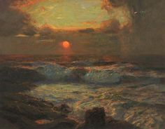 Sunset at Land's End, Cornwall    Albert Julius Olsson (1864–1942)    Touchstones Rochdale