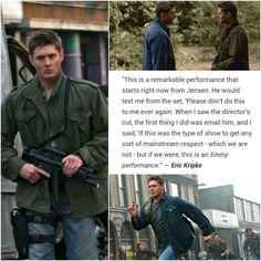 my heart. I cannot even begin to tell the number of times I have moaned to my friends about how much Jensen Ackles deserves an Emmy. His acting is phenomenal and I wish he got more recognition for it. Supernatural Quotes, Supernatural Destiel, Supernatural Twitter, Sherlock Quotes, Castiel, Jensen Ackles, Danneel Ackles, Dean Winchester, Spn Memes