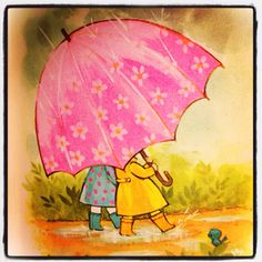 Walking in the Rain with a Pink Umbrella