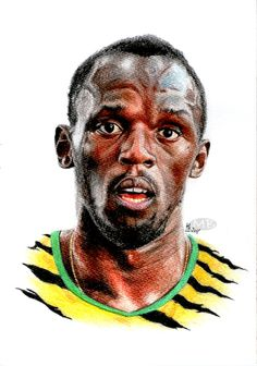 The fastest man on Earth. It was the Golden Spike meeting in Ostrava what inspired me to create this artwork. Usain Bolt took part in it and since I cou. Usain Bolt Olympics, Golden Spike, Fastest Man, Portraits, Lightning Bolt, Track And Field, Athletics, Jamaica, Deviantart