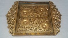 Ethnic Wooden Gold Finish Tray with Cutwork and Glass top, Dresser Top Tray, Home Decor, Christmas Gift