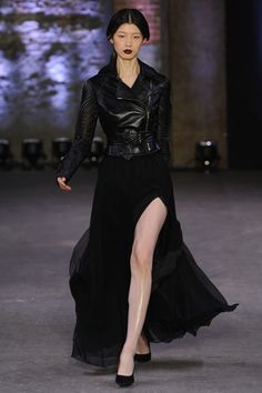 nyfw 2012 rtw christian siriano. love the motorcycle jacket ballgown combo