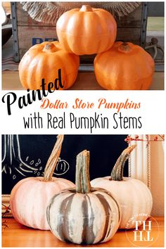 Grab some dollar store pumpkins, a little bit of craft paint, and start creating some gorgeous thrifty style autumn decor. Add real pumpkin stems to make it look like a real pumpkin but use them year after year. #ThriftyStyleTeam #HomeDecor #Autumn #Decorating #DIY #TheHowToHome #DollarStore #Craft #Pumpkin