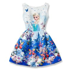 Cool 2017 Summer Girls Dresses Elsa Dress Anna Princess Party Dress For Girls Vestidos Teenagers Butterfly Print Baby Girl Clothes - $22.98 - Buy it Now!