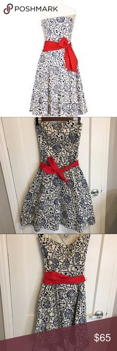 Tabitha for Anthropologie red sash dress Strapless navy and white dress with a beautiful sash. This dress IS the summer wedding dress of your dreams. It's absolutely stunning. Anthropologie Dresses Strapless