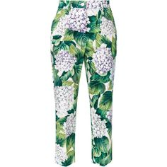 Dolce & Gabbana hydrangea print cropped trousers ($895) ❤ liked on Polyvore featuring pants, capris, green, zipper pants, white crop pants, cropped trousers, green crop pants and cropped pants