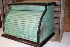 Vintage Bread Box - Upcycled - Robins Egg Blue - Painted