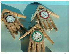 Klok van wasknijpers, knutselen, kinderen, basisschool, recycle, craft, elementary school, clock made from clothespegs