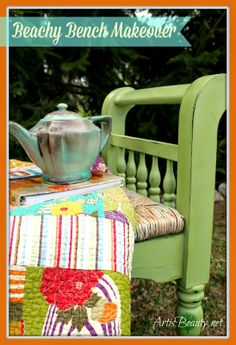 ART IS BEAUTY: BEACHY BENCH MAKEOVER Need some #SPRING in your life! Then come see the latest #furnituretransformation . This Bench went from BLAH to BEACHY. http://arttisbeauty.blogspot.com/2014/04/beachy-bench-makeover.html #paintedfurniture #homedecor #hometalktuesday #artisbeauty #furnituremakeover #diy #benches #beachdecor?