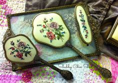 Vintage Shabby Chic Top of the Range Regent of London Ladies Vanity Set... c1950s... by MyVintageGirls on Etsy https://www.etsy.com/listing/225291706/vintage-shabby-chic-top-of-the-range