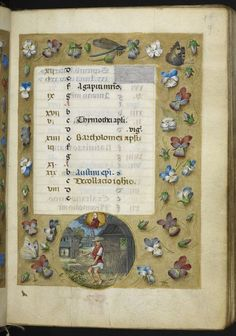 Calendar page for August, with a roundel miniature of a man separating wheat from chaff, with the zodiac sign Virgo, from the Huth Hours, Netherlands (Bruges or Ghent?), c. 1480, Add MS 38126, f. 9r