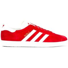 Adidas Originals Gazelle sneakers ($145) ❤ liked on Polyvore featuring men's fashion, men's shoes, men's sneakers, red, mens leather sneakers, mens red shoes, mens red sneakers, mens leather shoes and mens red leather shoes