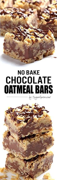 Chocolate Oatmeal Bars The only thing easier than making these no-bake chocolate oatmeal bars is eating them.The only thing easier than making these no-bake chocolate oatmeal bars is eating them. Chocolate Oatmeal, Chocolate Desserts, Chocolate Cake, Baking Chocolate, Divine Chocolate, Chocolate Chips, Baking Recipes, Cookie Recipes, Dessert Recipes