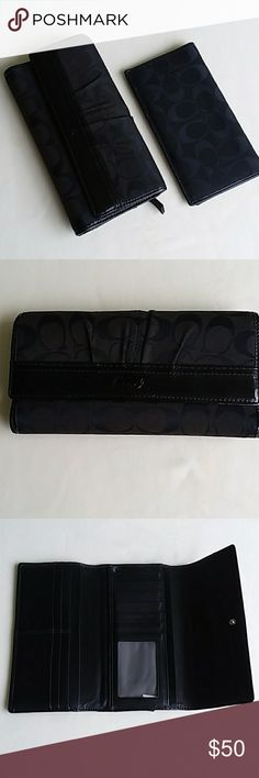 Black Coach Waller with matching checkbook cover Beautiful wallet.  Has some wear around the zipper area.  Lots of card slots. Coach Bags Wallets