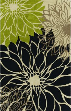 Apple green, black, cream and tan...like the color combo ( this is a rug, which I could not use in my home)