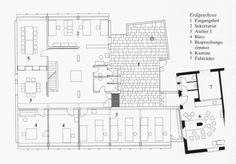 ERNST GISEL / ATELIERHAUS, ZÜRICH / 1974 Floor Plans, Diagram, How To Plan, Drawings, Atelier, Ground Floor, Entryway, Architecture, House