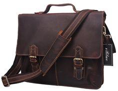 Iblue Full Grain Leather Messenger Shoulder Bag Brown Briefcase Business Tote 15 in