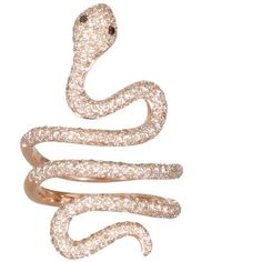 Elise Dray pink gold and brown diamonds Snake ring (€5.375) ❤ liked on Polyvore featuring jewelry, rings, accessories, fillers, anillos, brown diamond ring, elise dray jewelry, rose gold chocolate diamond ring, red gold jewelry and pink gold rings