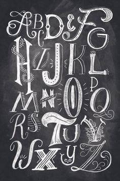Beautiful hand-lettering and illus­tra­tion by Orlando, Florida-based Shauna Lynn Panczyszyn. This alphabet shows all of the different techniques that could be used towards handlettering. Chalk Lettering, Creative Lettering, Types Of Lettering, Lettering Styles, Typography Letters, Lettering Design, Lettering Ideas, Chalkboard Lettering Alphabet, Hand Typography