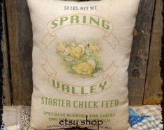 Handmade Primitive Spring Chick Feed Feedsack Style Pillow or Panel #45