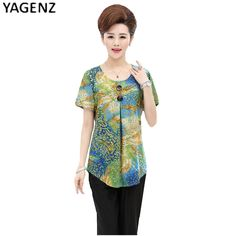Middle Aged Women 2 piece set Casual Flower Print Tops 2017 Woman Short Sleeve Mother Clothing Plus Size Blouse Elderly Lady-in Women's Sets from Women's Clothing & Accessories on Aliexpress.com | Alibaba Group