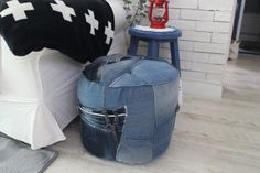 DIY) Footstool made with jeans
