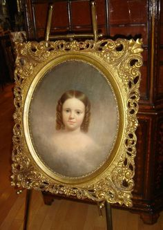 ANTIQUE ENGLAND YOUNG GIRL OVAL PORTRAIT OIL PAINTING WITH GREAT FRAME  C.1830