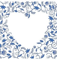 Floral heart shaped pattern vector on VectorStock®