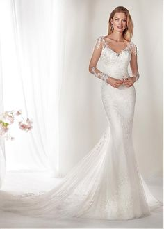f1f4109eee9  247.99  Junoesque Tulle   Lace V-neck Neckline Mermaid Wedding Dress With  Beadings   Lace Appliques