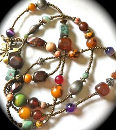 Long beaded necklace to accessorize