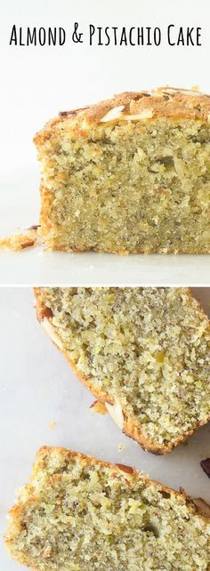 & Pistachio Cake A fragrant loaf cake with ground almonds, pistachios and orange juice!A fragrant loaf cake with ground almonds, pistachios and orange juice! Köstliche Desserts, Dessert Recipes, Health Desserts, Plated Desserts, Cupcake Recipes, Loaf Cake, Almond Cakes, Gluten Free Almond Cake, Food Cakes