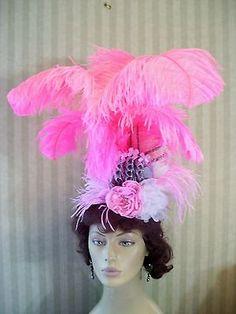 Marie Antoinette Feather Fascinator Victorian Wedding Halloween Hat Show Girl Flamingo Costume, Wedding Fascinators, Halloween Hats, Showgirls, Marie Antoinette, Puppets, Feather, Victorian, Women
