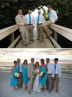 Love the khaki and turquoise for the men... But they need matching teal vests as well