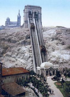 The former funicular of Notre Dame de la Garde, Marseille, France