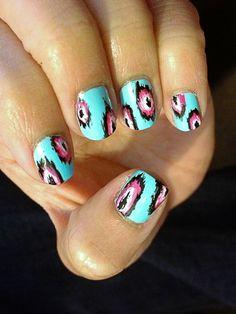 blue boho nails
