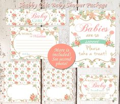 Shabby Chic Baby Shower Set Peach and Mint by PinkLemonadeTree