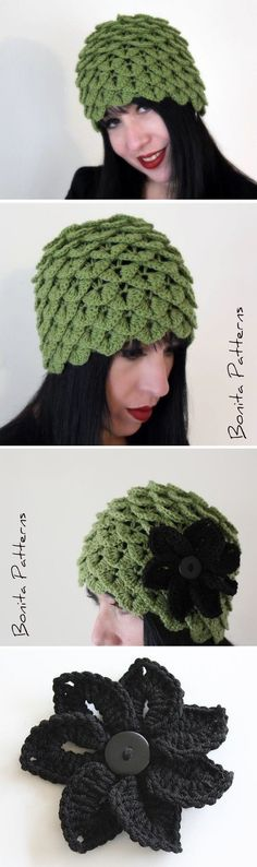 Crocodile Stitch Cloche Crochet Hat - *Inspiration* (if you click on the picture, it will take you to an etsy link where you can buy this pattern)