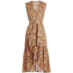 Rebecca Taylor Moonlight Garden cotton-poplin wrap dress ($590) ❤ liked on Polyvore featuring dresses, orange print, v-neck dresses, colorful dresses, flounce dress, pattern dress and v neckline dress