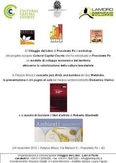 un workshop internazionale, musica, libri ed arte al villaggio del libro di frassineto po.