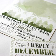 rustic mountain wedding invitation with pine trees #wedding #invitation #stationery